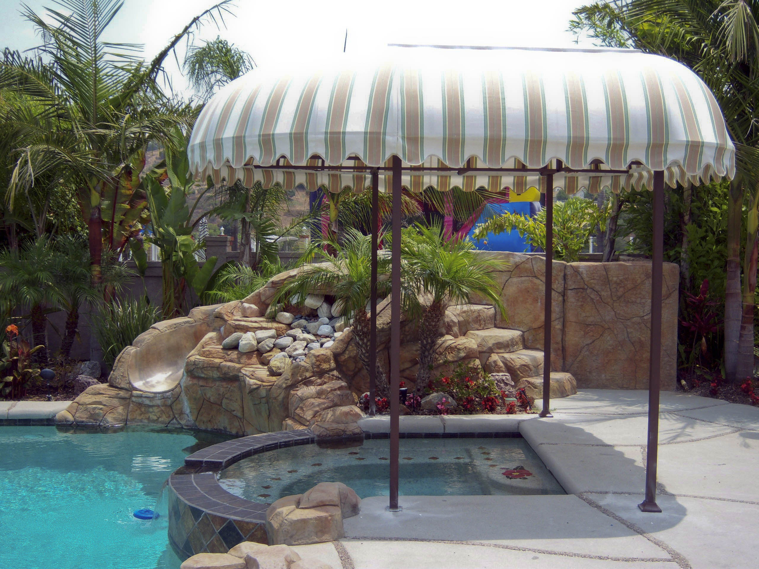Poolside canopy any shape or size armbruster builds for Pool canopy bed